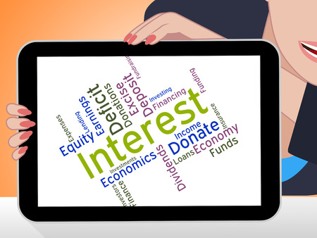 dividends: Interest Word Representing Savings Dividends And Wordcloud Stock Photo