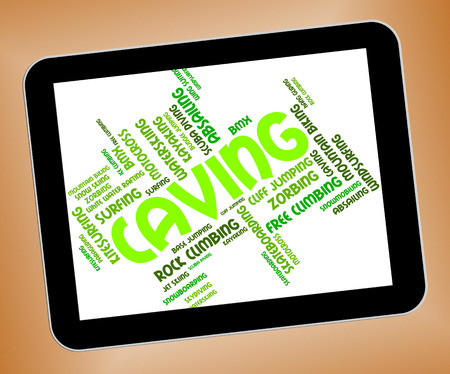 caving: Caving Words Indicating Cave Climbing And Exploring Stock Photo