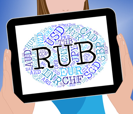 rubles: Rub Currency Meaning Russian Rubles And Coin Stock Photo