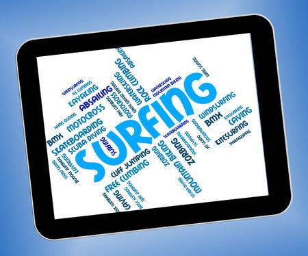 watersport: Surfing Word Showing Wordcloud Watersport And Surfboard Stock Photo