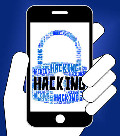 hacked: Hacking Lock Showing Malware Wordcloud And Spyware Stock Photo