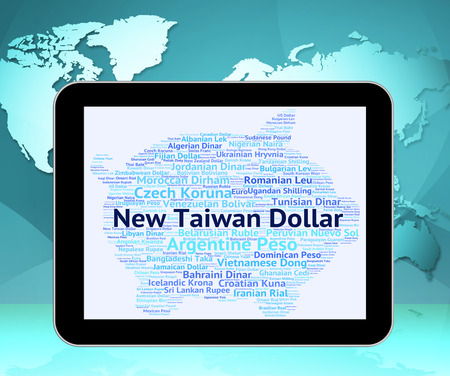 foreign currency: New Taiwan Dollar Indicating Foreign Currency And Wordcloud