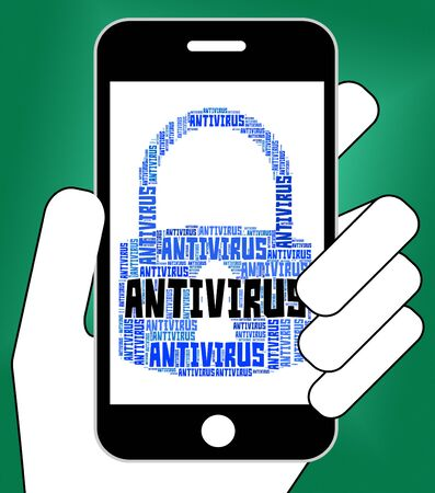 antivirus software: Antivirus Lock Showing Malicious Software And Scan