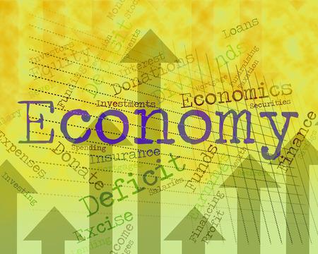 economizing: Economy Word Showing Micro Economics And Economize