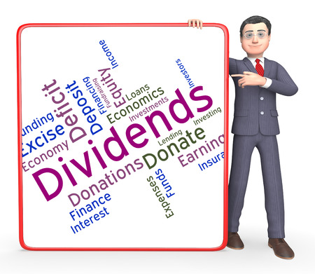 yields: Dividends Word Showing Stock Market And Words