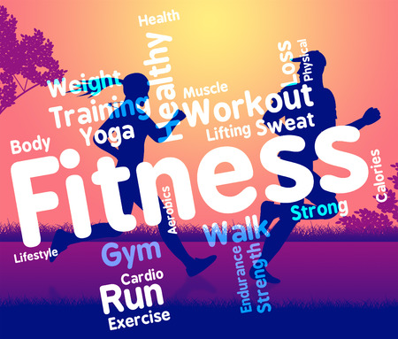 get a workout: Fitness Words Showing Working Out And Text