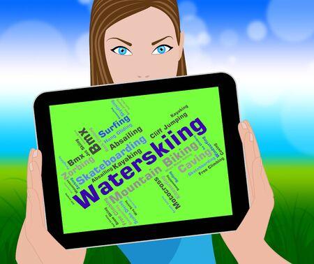 watersport: Waterskiing Word Meaning Wordcloud Text And Waterskiers