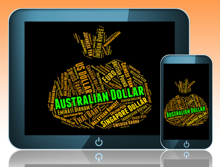 foreign currency: Australian Dollar Indicating Foreign Currency And Broker Stock Photo