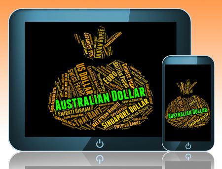 broker: Dólar australiano Indicando moneda extranjera y Broker