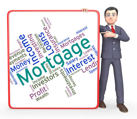 borrow: Mortgage Word Representing Borrow Money And Debt Stock Photo