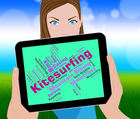 kitesurf: Kitesurfing Word Indicating Water Sports And Text