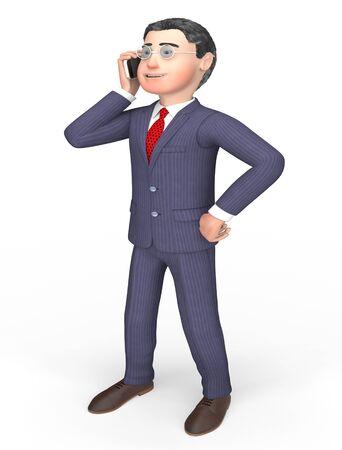 person calling: Llamando caracteres que muestra la persona de negocios y Ilustraci�n de la representaci�n 3d