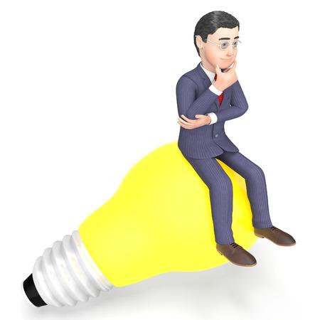 reflecting: Thinking Lightbulb Representing Render Reflecting And Entrepreneur 3d Rendering Stock Photo