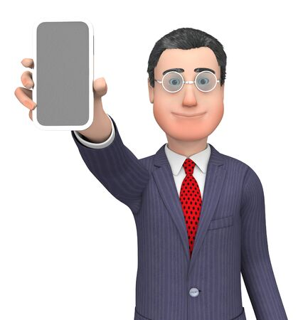 wide: Character Businessman Showing World Wide Web And Website 3d Rendering