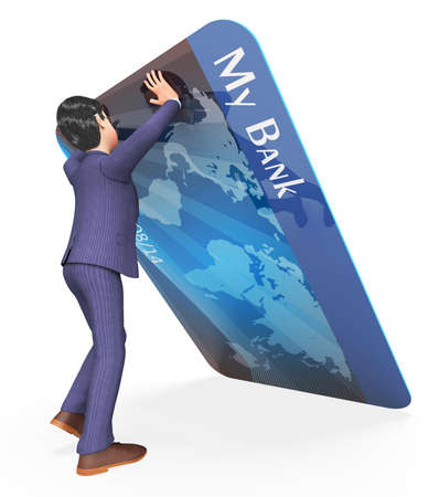 paying: Debit Card Indicating Business Person And Paying 3d Rendering Stock Photo