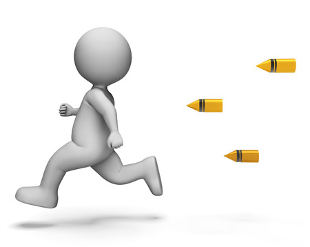 joggers: Bullets Running Indicating Tight Spot And Render 3d Rendering Stock Photo