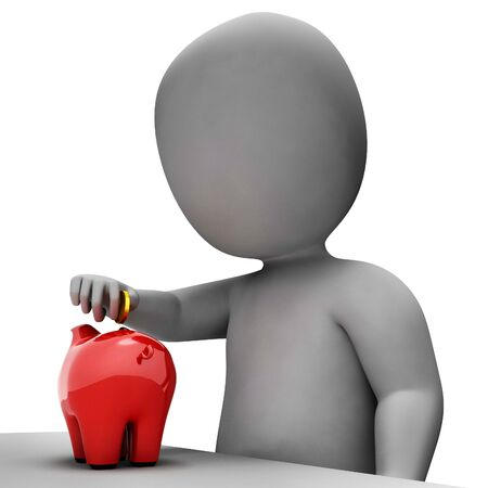 saved: Save Savings Representing Piggy Bank And Saved 3d Rendering