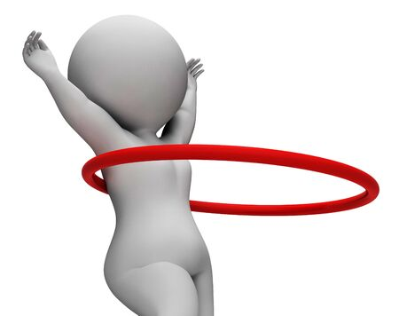 hulahoop: Hula Hoop Meaning Get Fit And Fitness 3d Rendering Stock Photo