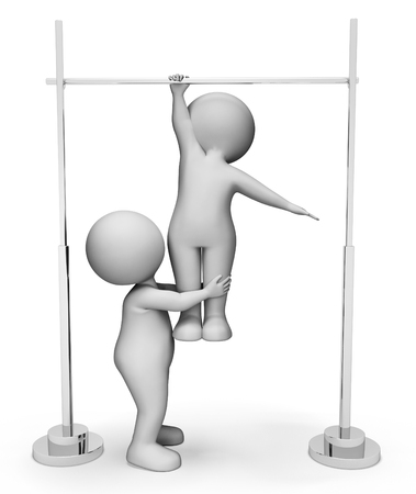 physical activity: High Bar Indicating Physical Activity And Apparatus 3d Rendering Stock Photo