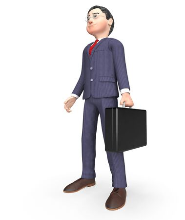 businessman standing: Businessman Standing Indicating Render Waiting And Illustration 3d Rendering