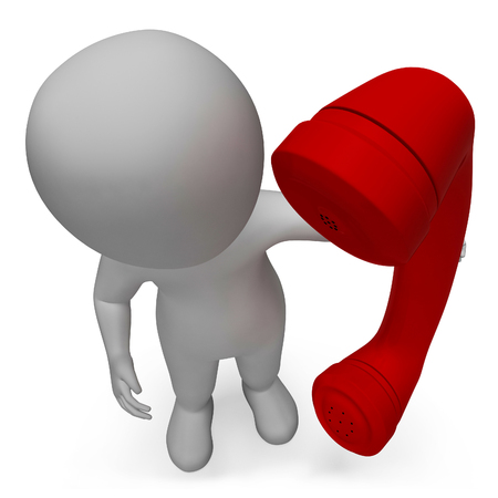 correspond: Talking Character Showing Phone Call And Communication 3d Rendering Stock Photo