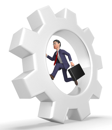 Rat Race Meaning Business Person And Wearisome 3d Rendering Stock Photo