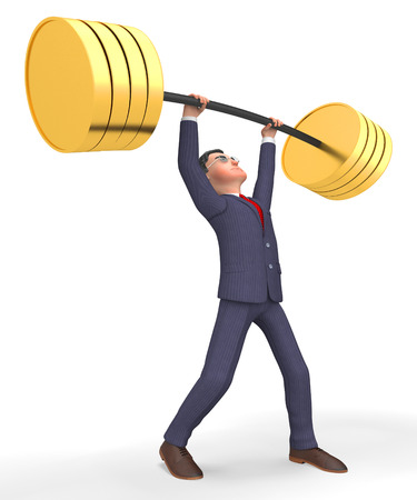 working out: Weight Lifting Meaning Working Out And Businessman 3d Rendering Stock Photo