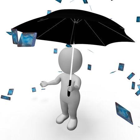 indebtedness: Debit Card Showing Credit Cards And Bankrupt 3d Rendering