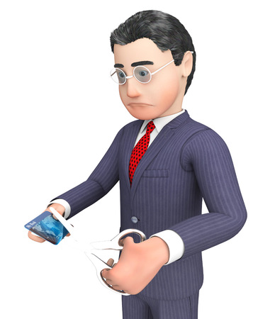 entrepreneurial: Credit Card Indicating Character Cutting And Banking 3d Rendering