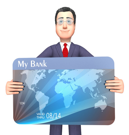 indebtedness: Credit Card Showing Purchasing Crisis And Bankrupt 3d Rendering Stock Photo