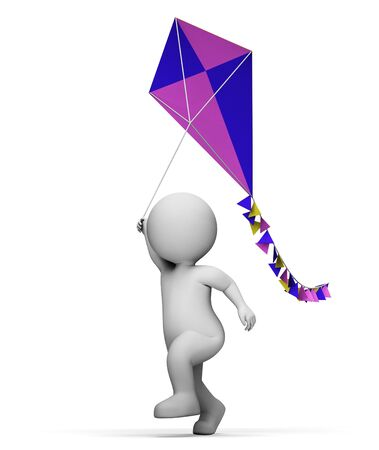 playtime: Kite Playing Indicating Free Time And Kids 3d Rendering Stock Photo
