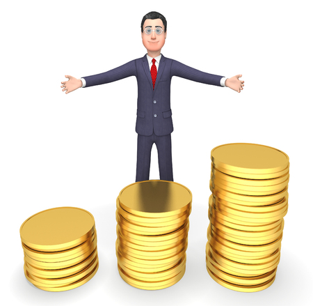 indicating: Character Money Indicating Business Person And Accounting 3d Rendering