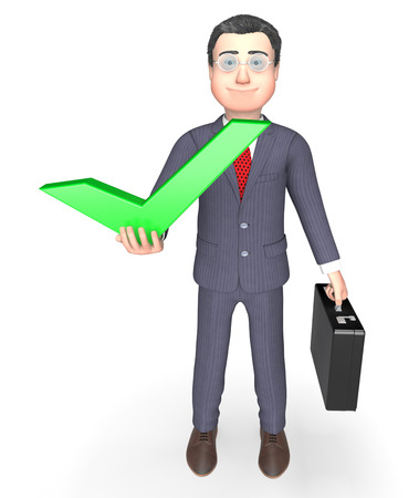 affirmative: Businessman Tick Meaning Success Successful And Ok 3d Rendering