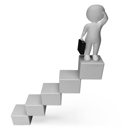 attainment: Stairs Character Indicating Business Person And Improvement 3d Rendering