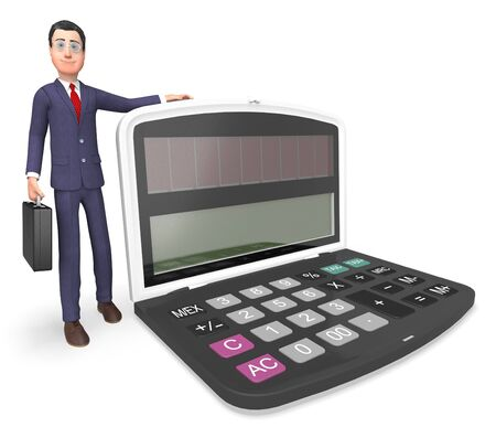 entrepreneurial: Character Businessman Showing Math Earnings And Count 3d Rendering