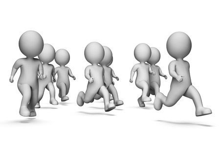 get a workout: Characters Jogging Showing Health Check And Workout 3d Rendering Stock Photo