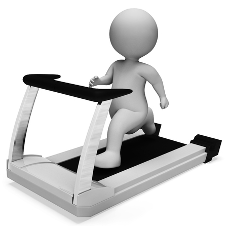 get a workout: Character Running Showing Get Fit And Sprinting 3d Rendering