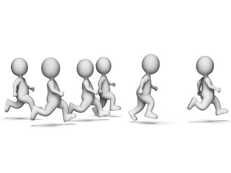 hombres corriendo: Correr representa trabajo en equipo ponerse en forma y corredor Representación 3d