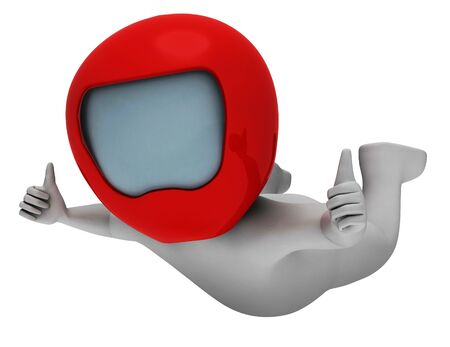 caida libre: Paracaidismo caracteres que indica salto de paraca�das y hombre 3d representaci�n