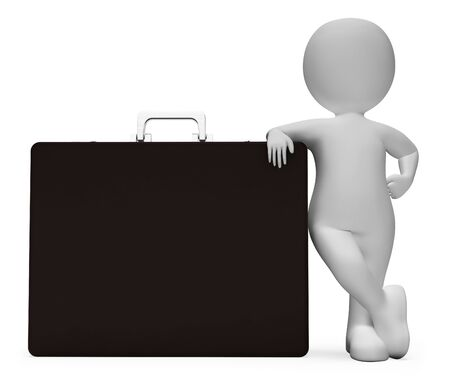 entrepreneurs: Briefcase Character Showing Business Person And Entrepreneurs 3d Rendering Stock Photo