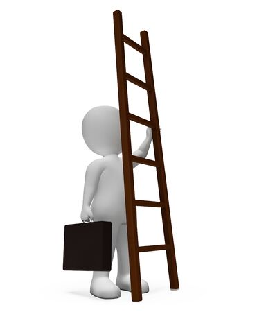 hard times: Businessman Climb Showing Hard Times And Increase 3d Rendering Stock Photo