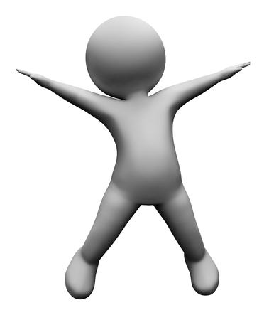 persona saltando: Indicando la estrella salta ponerse en forma y Energía Representación 3d