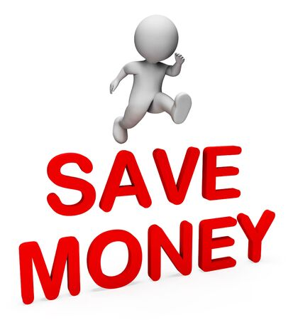 saver: Character Save Meaning Money Finance And Saver 3d Rendering