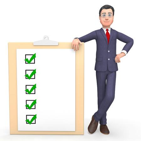 allright: Check Marks Showing Tick Symbol And Entrepreneur 3d Rendering