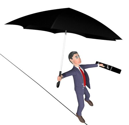 persevere: Businessman Tightrope Meaning High Line And Balancing 3d Rendering Stock Photo