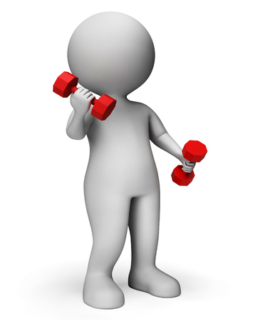 man working out: Dumbbells Exercise Meaning Get Fit And Gym 3d Rendering