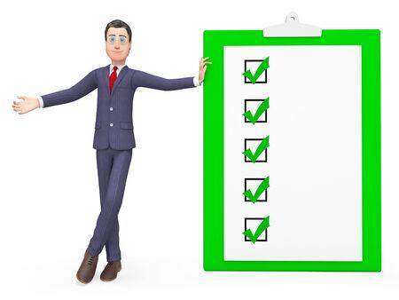 clip board: Check Marks Representing Clip Board And Executive 3d Rendering