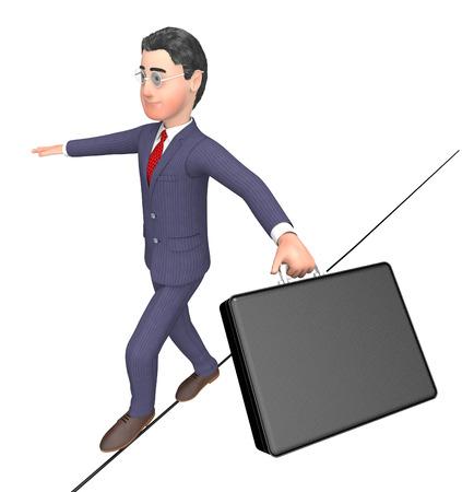 persevere: Balancing Character Indicating Tightrope Walker And Entrepreneurs 3d Rendering Stock Photo