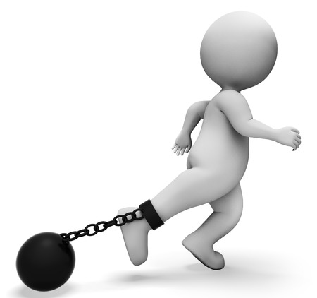 constraints: Ball And Chain Indicating Illegal Misdeed And Enslaving 3d Rendering Stock Photo