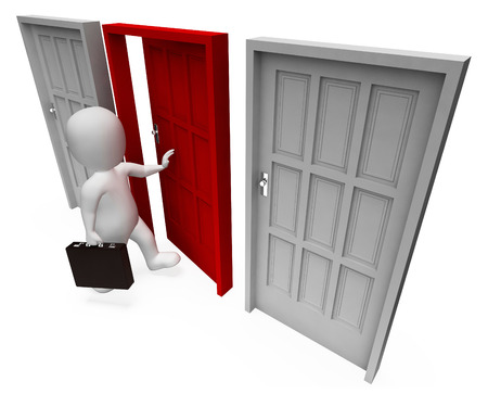 doorframe: Office Choice Indicating Business Person And Doorframe 3d Rendering Stock Photo